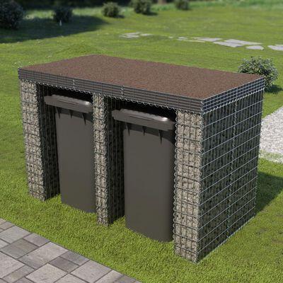 vidaXL Perete gabion pentru pubelă, 190x100x130 cm, oțel galvanizat