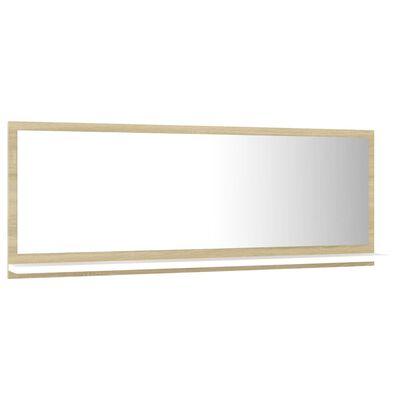 vidaXL Oglindă de baie, alb/stejar sonoma, 100 x 10,5 x 37 cm, PAL