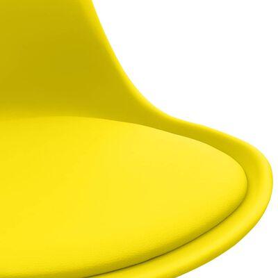 vidaXL Scaune de bucătărie, 2 buc., galben, piele ecologică