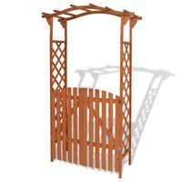 vidaXL Pergolă de grădină cu portiță, lemn masiv, 120 x 60 x 205 cm