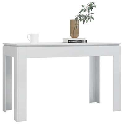 vidaXL Masă de bucătărie, alb lucios, 120 x 60 x 76 cm, PAL