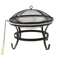 vidaXL Vatră de foc 2-în-1 grătar/vătrai, 56x56x49 cm, oțel inoxidabil