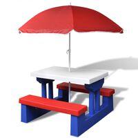 vidaXL Masă de picnic pentru copii cu bănci & umbrelă, multicolor