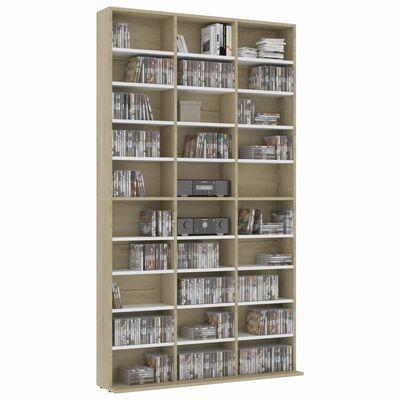 vidaXL Dulap CD-uri, alb și stejar Sonoma, 102 x 23 x 177,5 cm, PAL