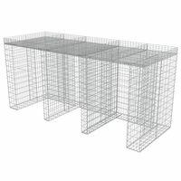 vidaXL Perete gabion pentru pubelă, 270x100x130 cm, oțel galvanizat
