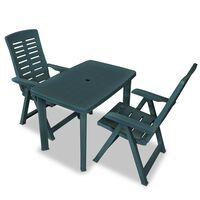 vidaXL Set mobilier bistro, 3 piese, verde, plastic