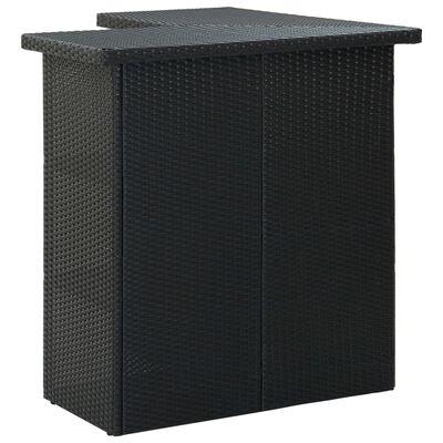 vidaXL Set mobilier bar de grădină cu perne, 4 piese, negru, poliratan