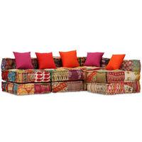 vidaXL Canapea puf modulară cu 4 locuri, petice, material textil