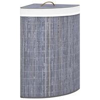 vidaXL Coș de rufe din bambus, pentru colț, gri, 60 L