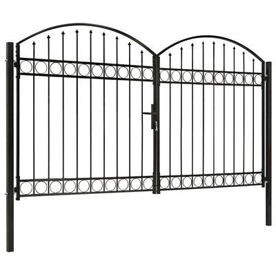 vidaXL Poartă de gard dublă cu vârf în arcadă, negru, 300x200 cm, oțel
