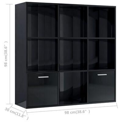 vidaXL Bibliotecă, negru extralucios, 98 x 30 x 98 cm, PAL