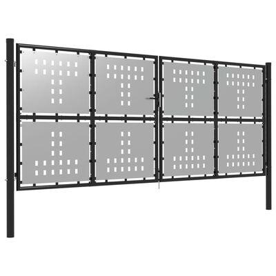 vidaXL Poartă de grădină, argintiu, 400 x 150 cm, oțel
