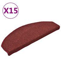 vidaXL Covorașe pentru trepte scară, 15 buc., roșu, 65x24x4 cm
