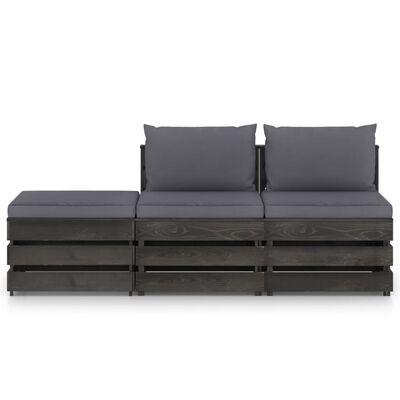 vidaXL Set mobilier de grădină cu perne, 3 piese, lemn verde tratat