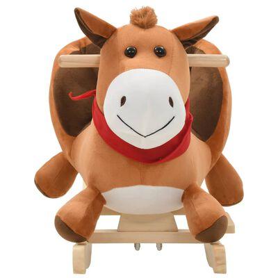 vidaXL Balansoar animal, cal, cu spătar, pluș, 60 x 32 x 50 cm, maro