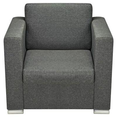 vidaXL Set canapele, 3 piese, gri închis, material textil