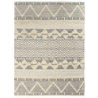 vidaXL Covor lână țesut manual, alb/gri/negru/maro, 80 x 150 cm