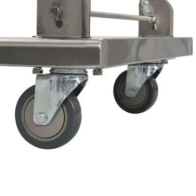 vidaXL Cărucior platformă, argintiu, 82 x 53 x 86 cm, oțel inoxidabil