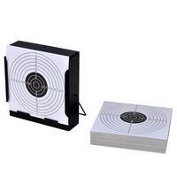 vidaXL Suport țintă colectare gloanțe + 100 ținte hârtie 14 cm pătrat