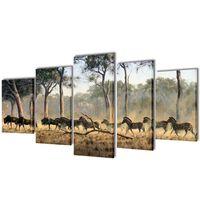 Set tablouri imprimate de pânză Zebre 200 x 100 cm