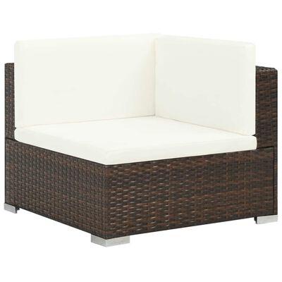 vidaXL Set mobilier de grădină cu perne, 6 piese, maro, poliratan