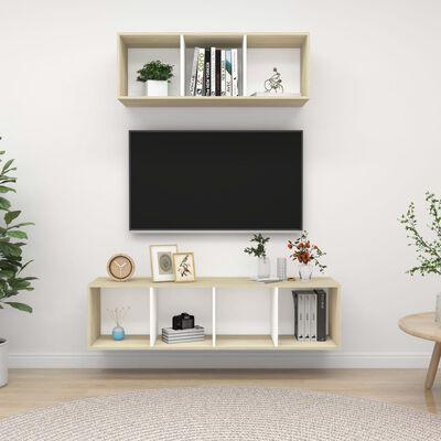 vidaXL Set de dulapuri TV, 2 piese, alb și stejar sonoma, PAL