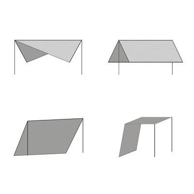 vidaXL Prelată umbrar cu stâlpi, din HDPE, pătrată, 3x3 m, bej