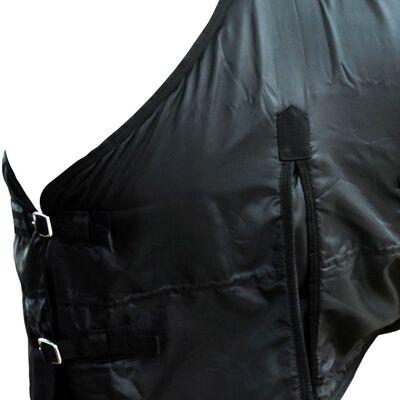 vidaXL Pled din lână cu chingi, dublu strat, negru, 105cm