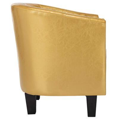 vidaXL Fotoliu, auriu strălucitor, piele ecologică