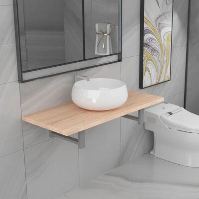 vidaXL Set mobilier de baie din două piese, stejar, ceramică
