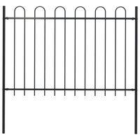 vidaXL Gard de grădină cu vârf curbat, negru, 1,7 x 1,2 m, oțel