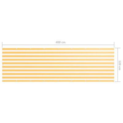 vidaXL Paravan de balcon, alb și galben, 120 x 400 cm, țesătură oxford