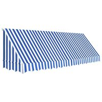 vidaXL Copertină de bistro, albastru și alb, 400 x 120 cm