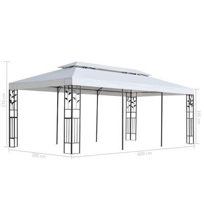 vidaXL Pavilion, alb, 3 x 6 m ,