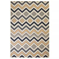 vidaXL Covor modern, design zigzag, 80 x 150 cm, maro/negru/albastru