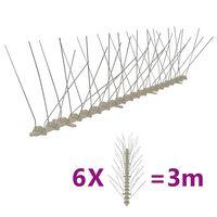 vidaXL Set bandă cu țepi antipăsări cu 4 rânduri, 6 buc., plastic, 3 m