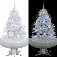 vidaXL Brad de Crăciun cu ninsoare și bază umbrelă, alb, 140 cm