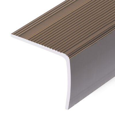 vidaXL Profile trepte în formă de L, 15 buc, maro, 134 cm, aluminiu