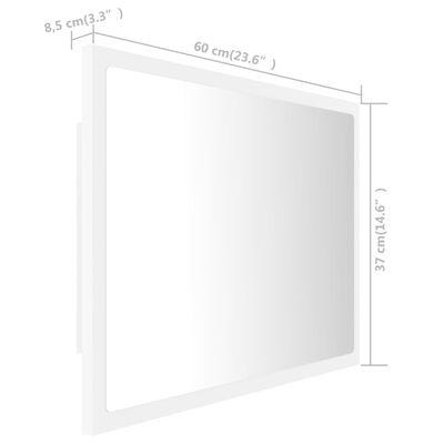 vidaXL Oglindă de baie cu LED, alb, 60x8,5x37 cm, PAL
