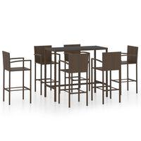 vidaXL Set mobilier bar de grădină, 7 piese, maro, poliratan