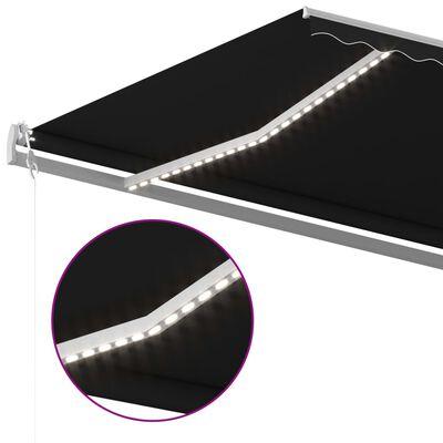 vidaXL Copertină retractabilă manual cu LED, antracit, 500x300 cm