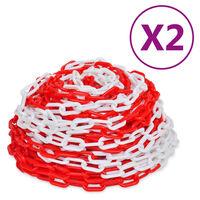 vidaXL Lanțuri de avertizare, 2 buc., roșu și alb, 30 m, plastic