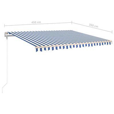 vidaXL Copertină autonomă retractabilă manual albastru/alb 450x350 cm