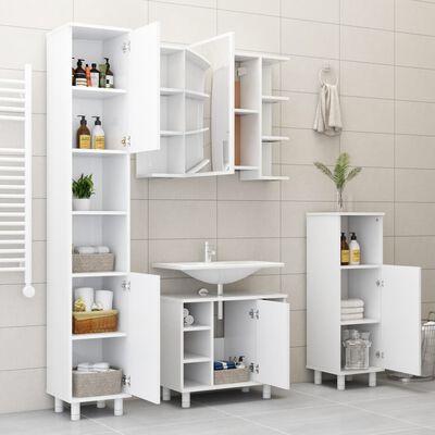 vidaXL Set mobilier de baie, 3 piese, alb, PAL