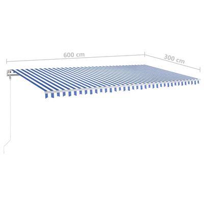 vidaXL Copertină retractabilă manual cu LED albastru și alb 600x300 cm