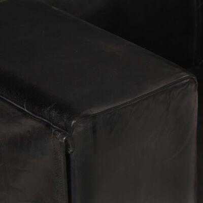 vidaXL Canapea cu 3 locuri, negru, piele naturală