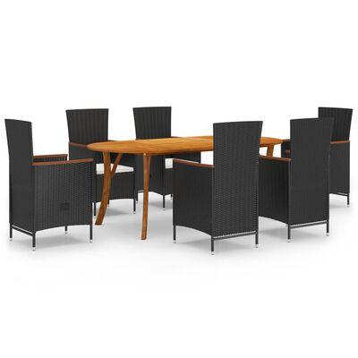 vidaXL Set de mobilier pentru grădină, 7 piese, negru