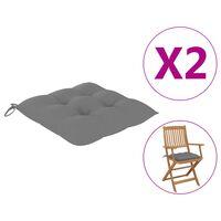 vidaXL Perne de scaun, 2 buc., gri, 40 x 40 x 7 cm, textil