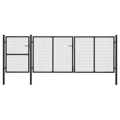 vidaXL Poartă de grădină, antracit, 400 x 125 cm, oțel