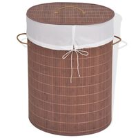 vidaXL Coș de rufe din bambus, oval, maro